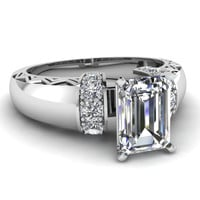 1.60ct Emerald cut diamond Engagement Ring 18kt White Gold JEWELFORME BLUE