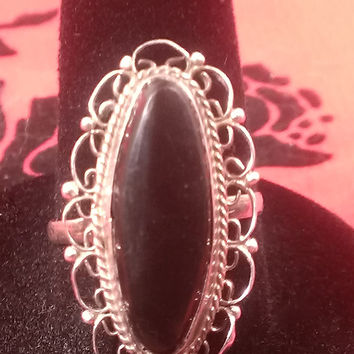 Vintage Sterling silver Onyx  ring Signed LRG made in Mexico size 7.25