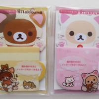 "Kawaii Sticky Notes - Kawaii Bear - Rilakkuma & Korilakkuma - ""Motto Nonbiri Neko "" theme -"