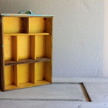 vintage wooden drawer : shadow box desktop office organization storage