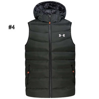 Under Armour Autumn and winter new loose padded hooded sleeveless jacket vest #4