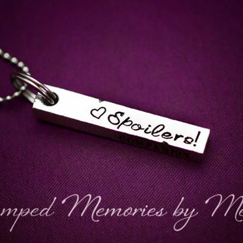 Whovian Necklace - Spoilers, Don't Blink, Bad Wolf, Companion - Dr. Who Fan - Hand Stamped Jewelry - The Doctor - Geekery - Time Lord