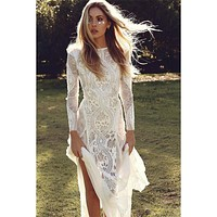 Ordifree 2019 Summer Women Long Party Dress Vintage Long Sleeve Floor Length Sexy Backless White Lace Maxi Dress