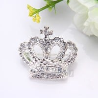 Silver Plated Rhinestone Crystal Crown Brooch Pin Wedding Party