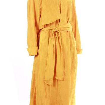"Yellow Silk Coat 80's Vintage Gene Ewing Belted Trench Women's Size XL+ 52"" Bust / 90s Draped Long A-Line Retro Fall Spring Golden Clothing"