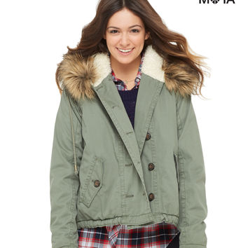 Aeropostale Girls Faux Fur-Trim Anorak - Green,