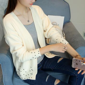2018 Autumn Winter Knitting Sweater And Cardigan For Women Full Sleeve V-Neck Knitwear Female Casual  Patchwork Open Stitch FEME