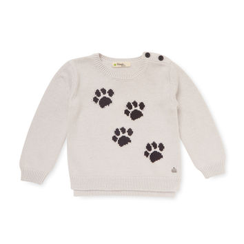 Bonnie Mob Paw Print Intarsia Knit Sweater - White -