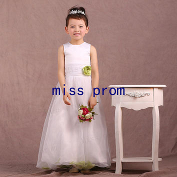 Organza with satin flower girl dress with sash and flower