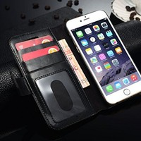 iPhone 6S Case / iPhone 6 Case, Walle Leather Flip Case 2-in-1 Detachable Wallet Case and Cover for iPhone 6S/6 (Black)