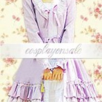 Lolita Costumes Cotton Lavender Long Sleeves Cotton Cosplay Lolita Dress [T110440] - $73.00