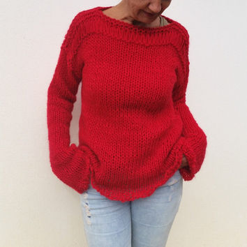 Red knit sweater, women's cozy sweater, red wool sweater, wool knit sweater, red cozy trends, red womens gifts, red sweaters,