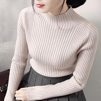 Round neck long-sleeved knit Tops Sweater