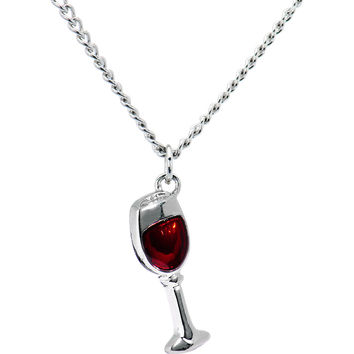 Stainless Steel Red Wine Glass Necklace
