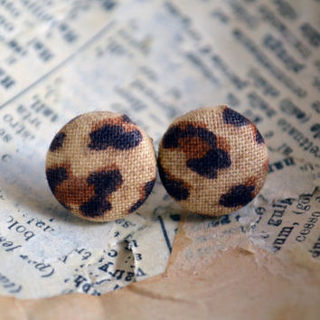 Fabric Button Earrings, Fabric Cheetah Print Earrings, Button Earrings, Party Favors, Birthday Gift, Safari Jungle Theme, Trendy Accessories