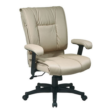 Work Smart EX Series EX9381-1 Deluxe Mid Back Executive Deluxe Coated Tan Leather Chair w/ Pillow Top Seat & Back
