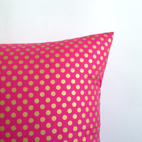 """Pink and Gold Pillow Covers. Set of Two,  18"""" x 18"""". Sofa Pillow Covers. Pink Gold Polka Dot Toss Pillows. Decorative Throw Pillows."""
