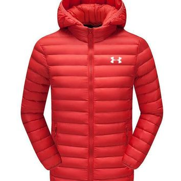 Under Armour Fashion Winter Warm Men Cardigan Jacket Coat Windbreaker Hoodie Orange Red