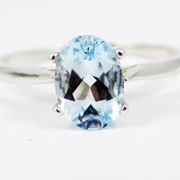 Aquamarine Oval Solitaire Ring 14k White Gold, March Birthstone Ring, Natural Blue Aquamarine Ring, 14k White Gold Oval Solitaire Ring
