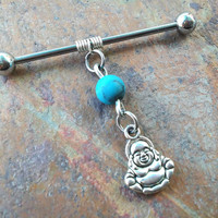 Buddha charm wire wrapped turquoise stones Industrial/Scaffold barbell 14 gauge stainless steel body jewelry