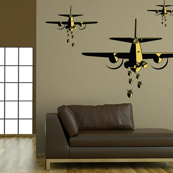 "B-25 Bombers World War 2 Airplane Wall Decal Vinyl Aviation Sticker 59"" x 44"" Home Decor"