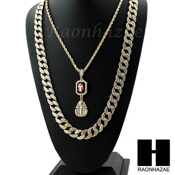 ICED OUT LAB DIAMOND GOLD CUBAN CHAIN RED RUBY KING TUT PHARAOH ANKH NECKLACES