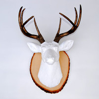 White and Bronze Faux Deer Head - Wood Slice Wall Mount - Deer Head Antlers Fake Taxidermy Wall Decor DWM0109