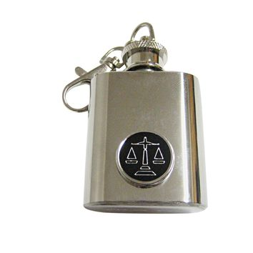 Black Scale of Justice Law Keychain Flask