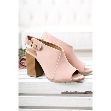 Would You Peep Toe Booties (Blush)