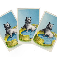 Vintage Terrier Playing Cards, Lot of 3, Blue Dog Bed, Smash Book Supply, Junk Journal Scraps, Puppy Ephemera, 1950s Swap Cards