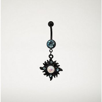 Black Sunburst Dangle Belly Ring - 14 Gauge - Spencer's