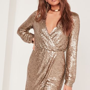 Missguided - Long Sleeve Sequin Wrap Dress Gold