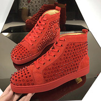 CL Christian Louboutin Men's Leather Fashion High Top Sneakers Shoes