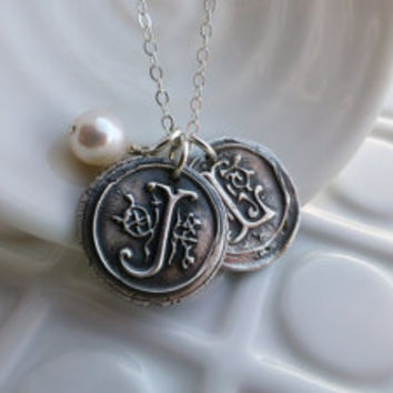 Wax Seal Necklace - - Two Initials with Freshwater Pearl - - Vintage Inspired Monogram Pendants