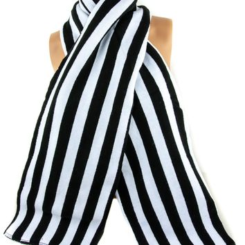 Gothic Black and White Vertical Stripe Knit Scarf Halloween Clothing Beetlejuice Deathrock