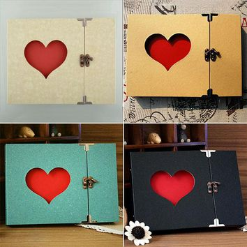 30 Pages Hollowed Heart Photo Album Memory Pictures Storage Holder Case Scrapbook Cover DIY Craft Wedding Graduation Gift