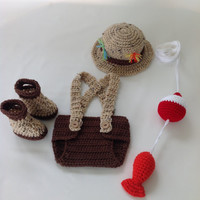 Baby Fishing Fisherman Diaper Cover Set w/Fish and Bobber Set - Fishing Hat - Boots - Fish and Bobber Set - Photography Prop - Great Gift