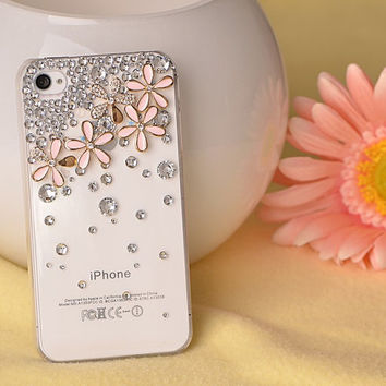 "1PCS Handmade Crystal and pink Cherry cell phone case for iPhone 4 4s Or iphone 5/5s 5C / or iPhone 6 (4.7"") or iphone 6 plus 5.5"" cover"