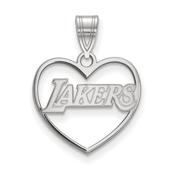 NBA Los Angeles Lakers Heart Pendant in Sterling Silver