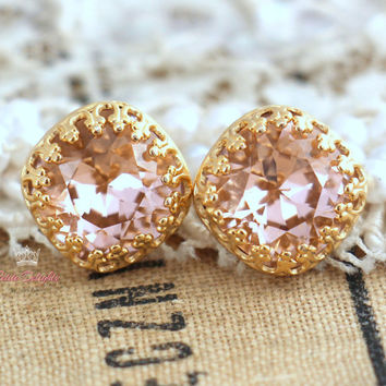 Pink blush Powder Studs, Light peach pink Crystal stud earring - 14k Gold plated, real Silver  post earrings real swarovski stud earrings.