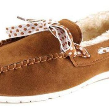 plush women suede moccasins bow fur lined driving