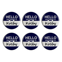 Kolby Hello My Name Is Plastic Resin Button Set of 6