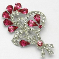 Early BOGOFF Fuchsia Rhinestone Milgrain Flower Floral Brooch Pin