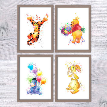Winnie the Pooh watercolor print Set of 4 posters Pooh Bear and friends art print Tigger, Winnie, Eeyore, Rabbit poster Nursery decor V62