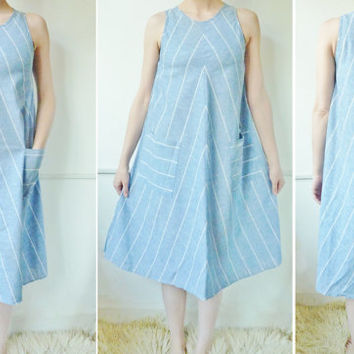 vintage summer dress . NAUTICAL A line sundress . small . medium . patch pockets . boho . swing dress . FESTIVAL dress. the good life . eco