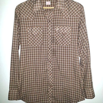 70's Vintage GWG Mens Long Sleeve Shirt Pearl Snap Button Up Made in Canada Plaid Cowboy Western Color Brown Size Large Big and Tall