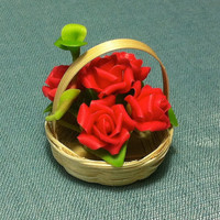 Flower Plant Red Roses Miniature Clay Polymer Fimo Garden Flowers Hand Made Supplies Cute Tiny Small Wicker Basket Wood Dollhouse Decor Deco