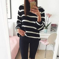 Women Fashion Black/White Stripe Long sleeves Pullover Sweater