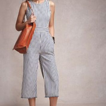 Joa Sailor Stripe Jumpsuit in Blue Motif Size: