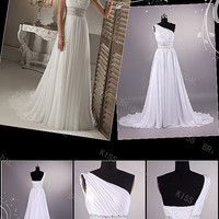 one-shoulder with beads sashes evening dress beach wedding dress